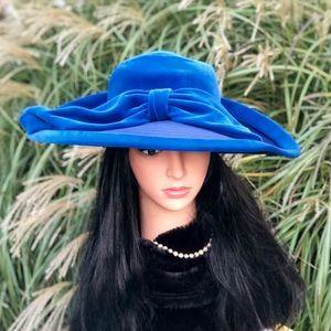 Vintage Edwardian Style Wide Brim Blue Velvet Hat